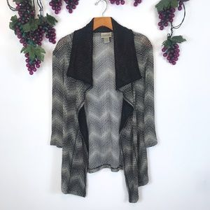Chico's Travelers Striped Open Knit Cardigan